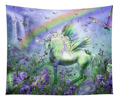 Tapestry featuring the mixed media Unicorn Of The Butterflies by Carol Cavalaris
