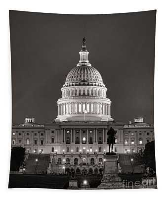 United States Capitol At Night Tapestry