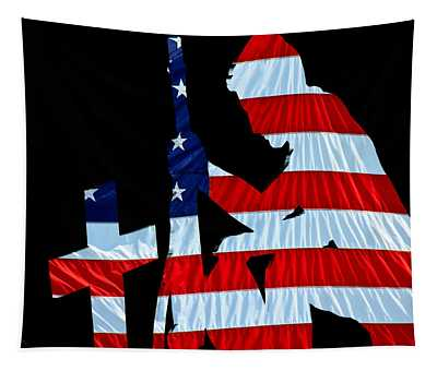 A Time To Remember United States Flag With Kneeling Soldier Silhouette Tapestry