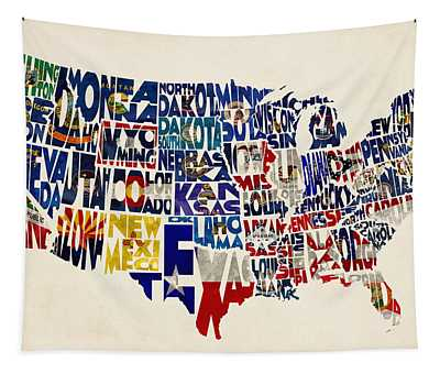 United States Flags Map Tapestry