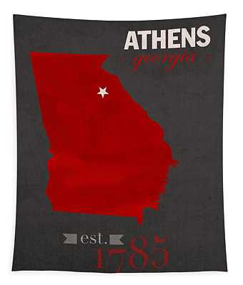 University Of Georgia Bulldogs Athens College Town State Map Poster Series No 040 Tapestry