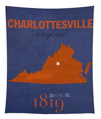 University Of Virginia Cavaliers Charlotteville College Town State Map Poster Series No 119 Tapestry