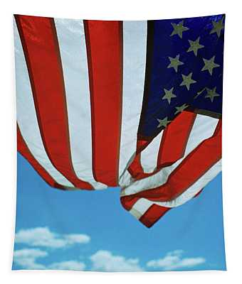 Unusual Angle Of Usa American Flag Tapestry