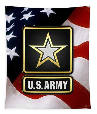 U. S. Army Logo Over American Flag. Tapestry