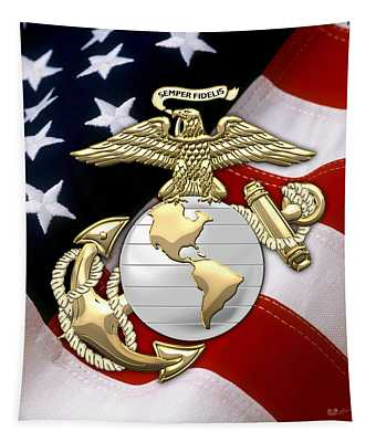 U. S. Marine Corps - U S M C Eagle Globe And Anchor Over American Flag. Tapestry