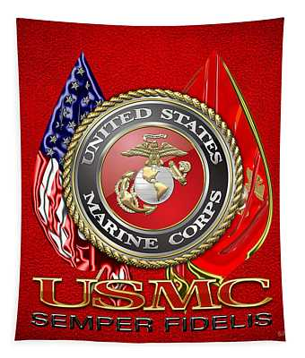 U. S. Marine Corps U S M C Emblem On Red Tapestry