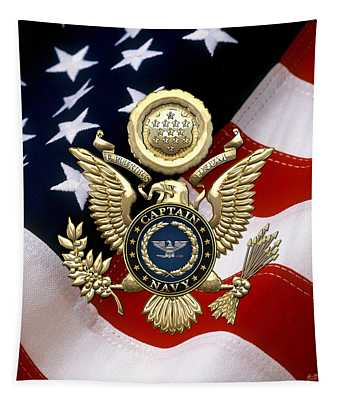 U. S.  Navy Captain - C A P T  Rank Insignia Over Gold Great Seal Eagle And Flag Tapestry
