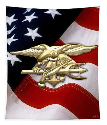 U. S. Navy S E A Ls Emblem Over American Flag Tapestry