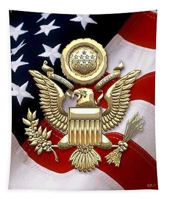 U. S. A. Great Seal In Gold Over American Flag  Tapestry