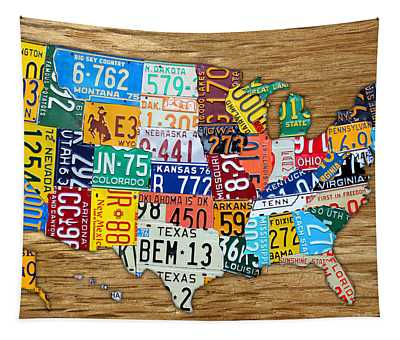 Usa License Plate Map Car Number Tag Art On Light Brown Stained Board Tapestry