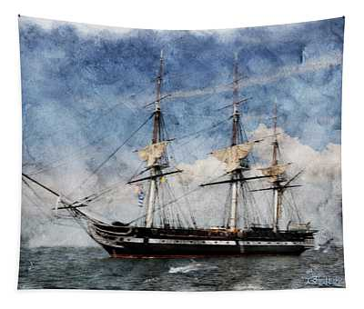 Uss Constitution On Canvas - Featured In 'manufactured Objects' Group Tapestry