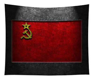 Ussr Flag Stone Texture Tapestry