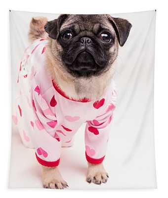 Valentine's Day - Adorable Pug Puppy In Pajamas Tapestry