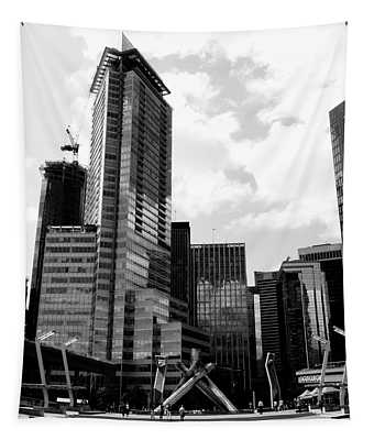 Vancouver Olympic Cauldron- Black And White Photography Tapestry