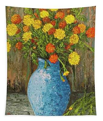 Tapestry featuring the painting Vase Of Marigolds by Darice Machel McGuire