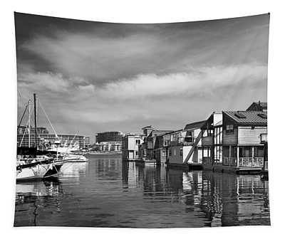 Veiw Of Marina In Victoria British Columbia Black And White Tapestry