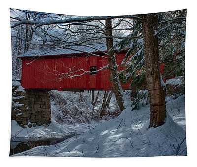 Vermont Covered Bridge Winter Afternoon Tapestry