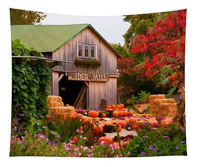 Vermont Pumpkins And Autumn Flowers Tapestry