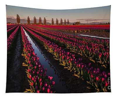 Vibrant Dusk Tulips Tapestry