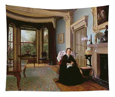 Victorian Interior With Seated Lady Tapestry