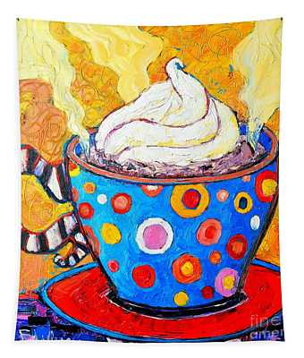 Viennese Cappuccino Whimsical Colorful Coffee Cup Tapestry