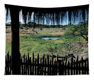 View From A Hut, Waterhole, Onguma Bush Tapestry