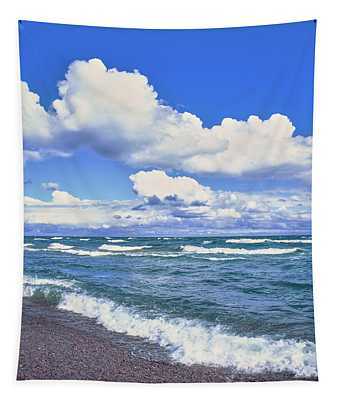 View Of Lakeshore Against Cloudy Sky Tapestry