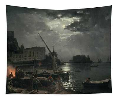 View Of Naples In Moonlight Tapestry