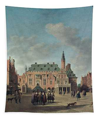 View Of The Grote Markt In Haarlem Oil On Canvas Tapestry