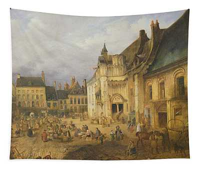 View Of The Place De Lhotel De Ville, Saint-omer, 1832 Oil On Canvas Tapestry