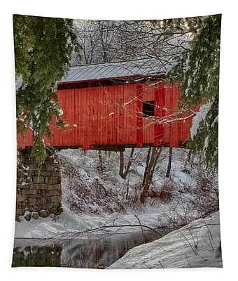 View Through The Boughs Of Vermont Covered Bridge Tapestry