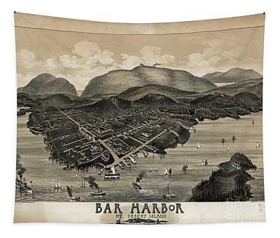 Vintage Bar Harbor Map Tapestry