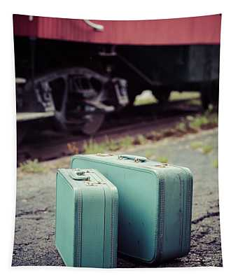 Vintage Blue Suitcases With Red Caboose Tapestry