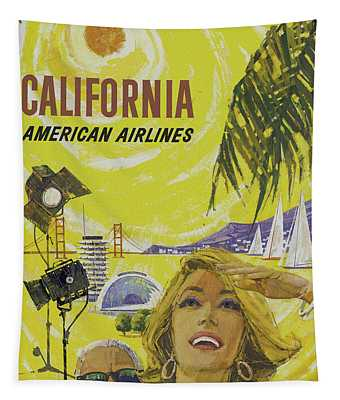 Tapestry featuring the digital art Vintage California Travel Poster by Joy McKenzie