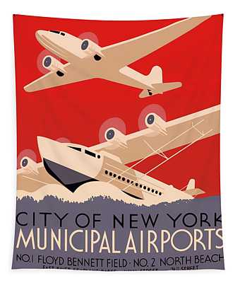 Vintage City Of New York Municipal Airports Poster 1937 Tapestry