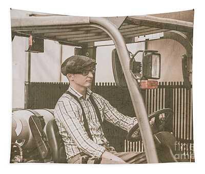Vintage Forklift Driver Tapestry