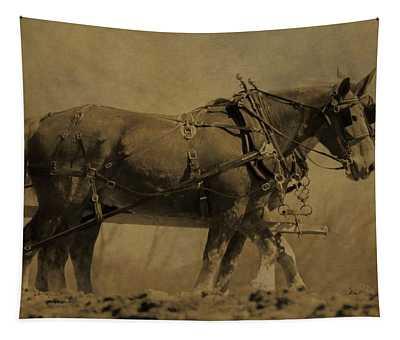 Vintage Horse Plow Tapestry