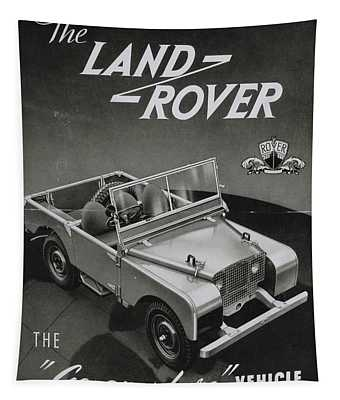 Vintage Land Rover Advert Tapestry