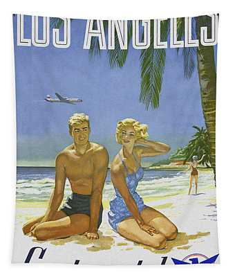 Tapestry featuring the digital art Vintage Los Angeles Travel Poster by Joy McKenzie