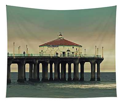 Vintage Manhattan Beach Pier Tapestry