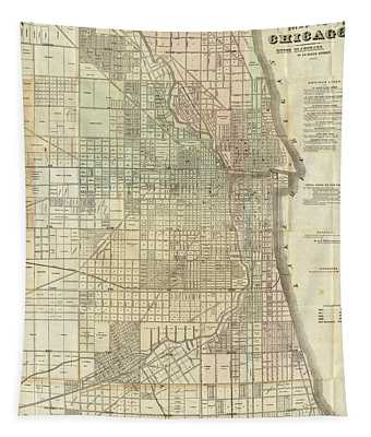 Vintage Map Of Chicago - 1857 Tapestry