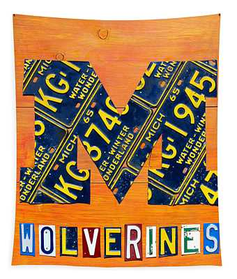 Vintage Michigan License Plate Art Tapestry