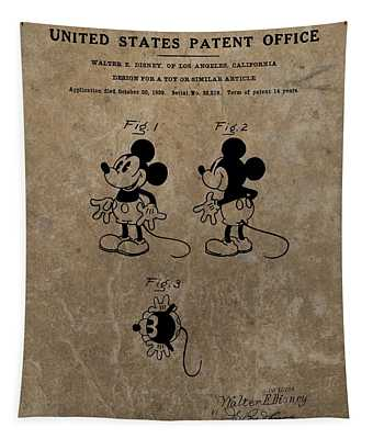 Vintage Mickey Mouse Patent Tapestry