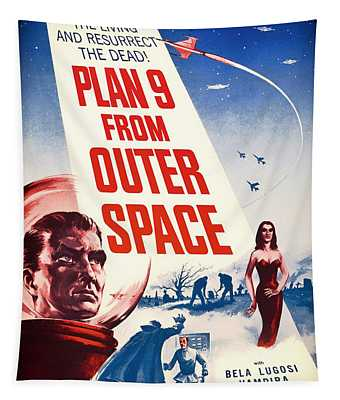 Vintage Movie Poster - Plan 9 From Outer Space Tapestry