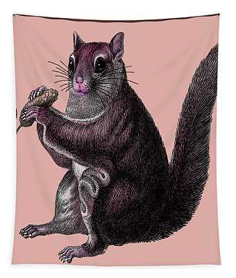 Tapestry featuring the digital art Vintage Squirrel by Joy McKenzie