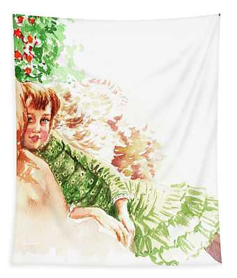 Vintage Study Lilian Of James Tissot Tapestry