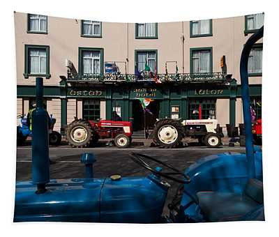 Vintage Tractors Lined Tapestry