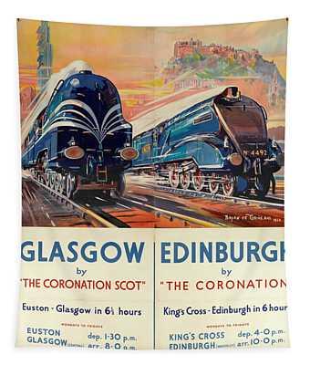 Vintage Train Travel - Glasgow And Edinburgh Tapestry