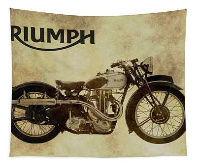 Vintage Triumph Motorcycles Tapestry