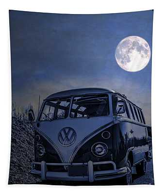 Vintage Vw Bus Parked At The Beach Under The Moonlight Tapestry